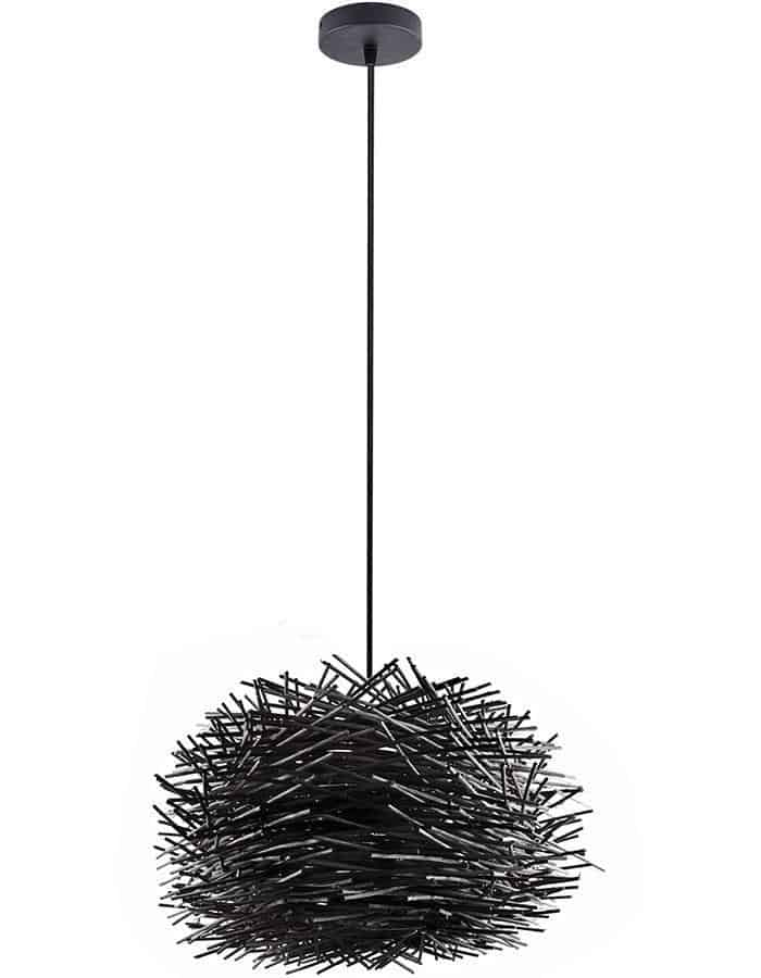 Pendant - Cabana Black Wood Pendant Light Small