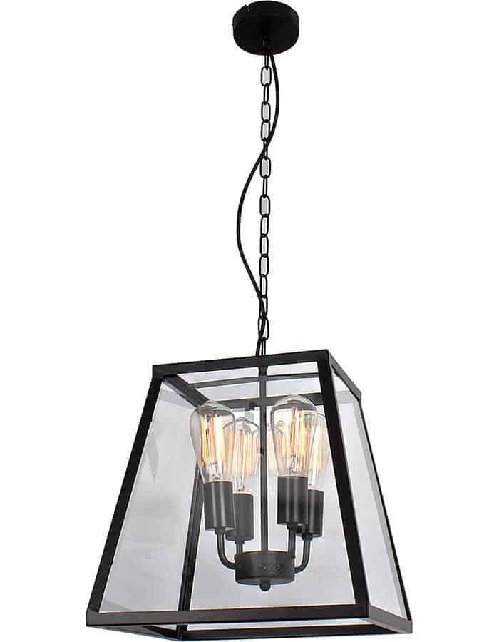 Pendant - Creswick Four Light Square Glass Pendant Light
