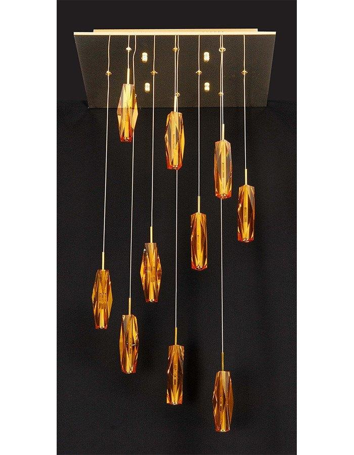 Pendant - Cubo 10 Light Amber Spiral Pendant Light