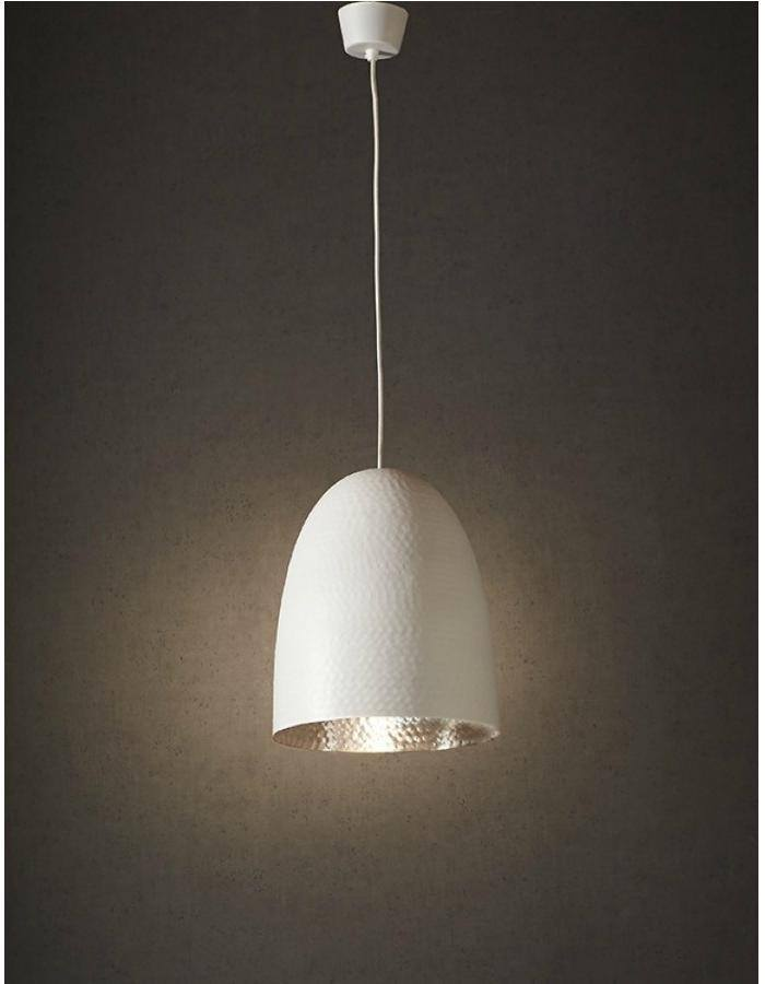 Pendant - Dolce Beaten White And Silver Pendant Light