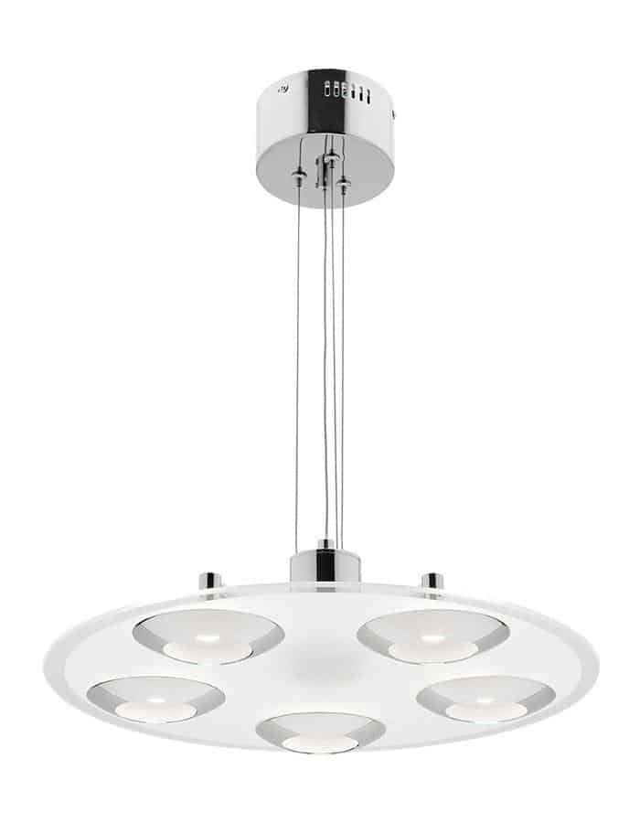 Pendant - Vortex Five Light Round Chrome And Glass LED Pendant Light