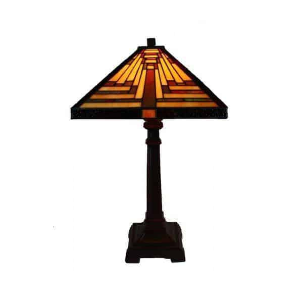 Table Lamp - Boston Triangle Tiffany Table Lamp Red