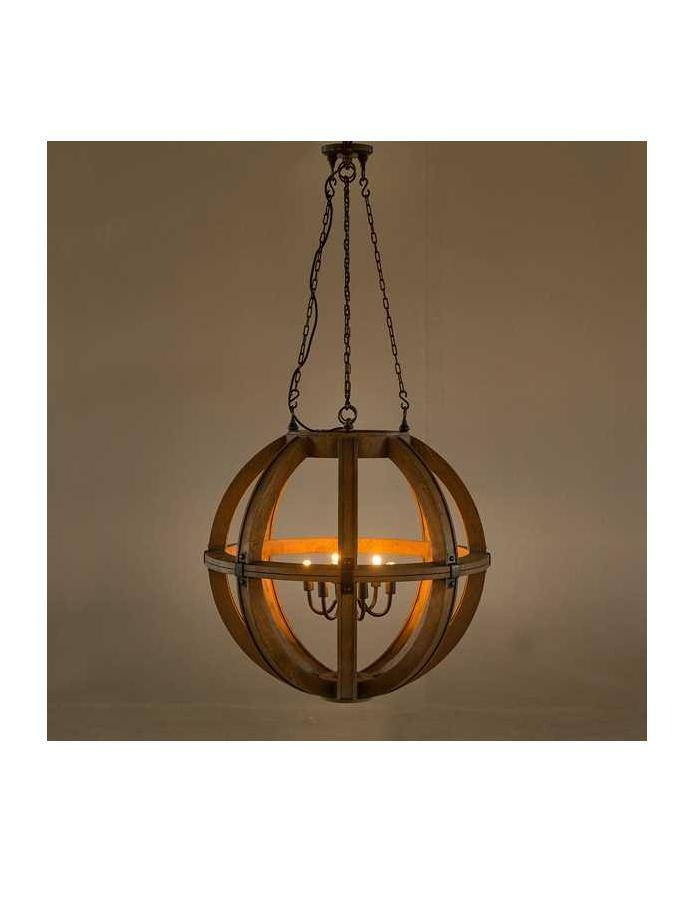 Traditional - Cambure Wooden Globe Chandelier - Six Light