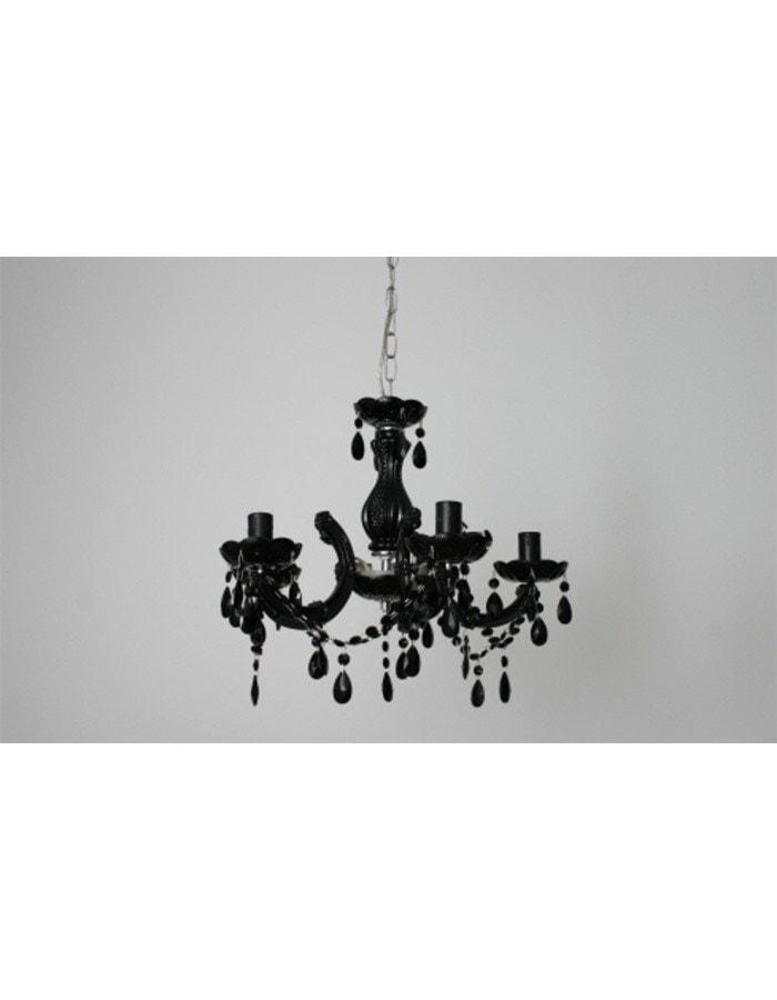 Traditional - Mondoza Five Light Black Glass Chandelier