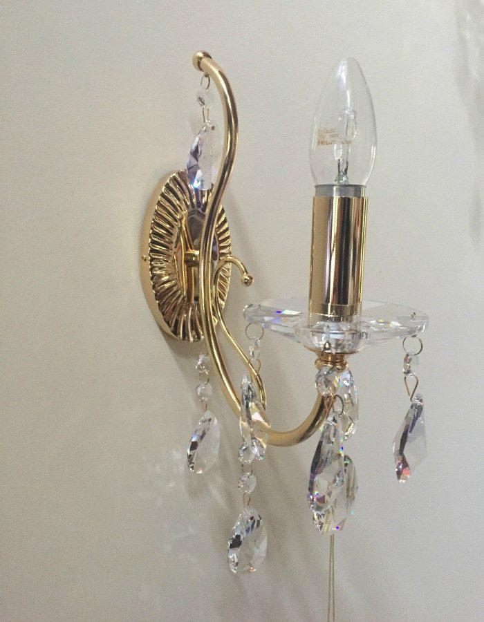 Wall Lamp - Elegance Single Asfour Crystal Wall Light