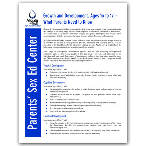 Growth and Development, Ages 13 to 17-What Parents Need to Know