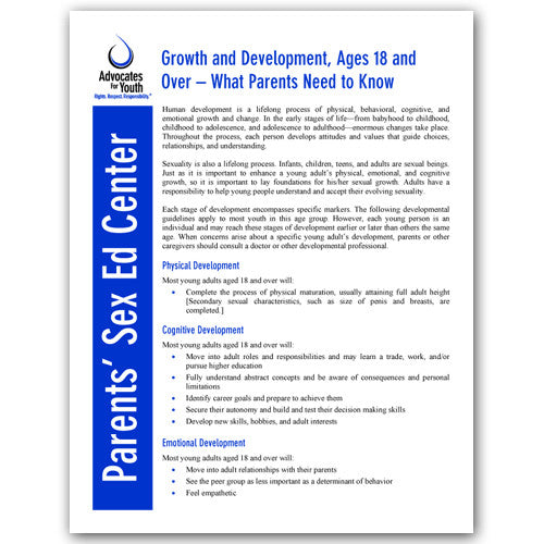 Growth and Development, Ages 18 and Over-What Parents Need to Know