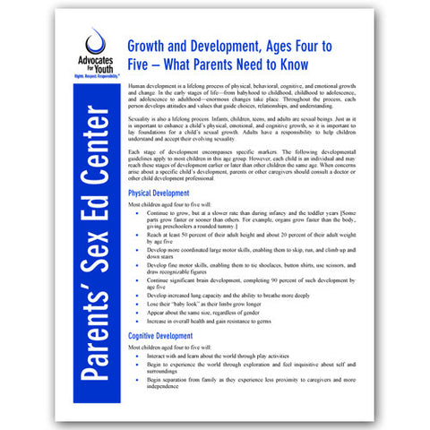 Growth and Development, Ages Four to Five-What Parents Need to Know