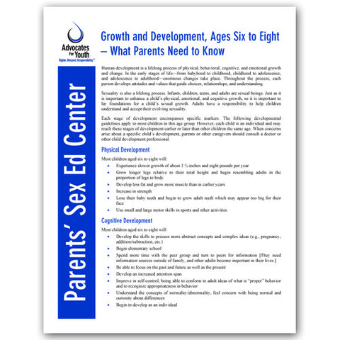 Growth and Development, Ages Six to Eight-What Parents Need to Know