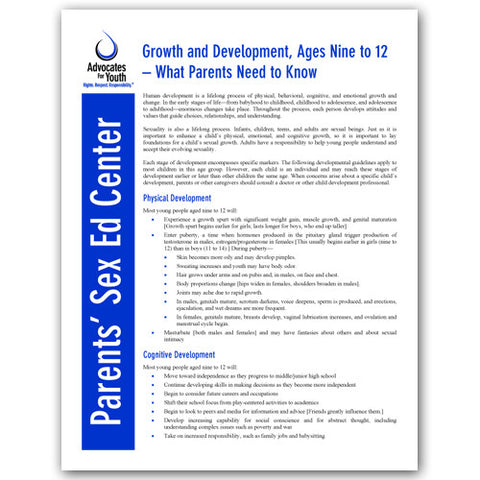 Growth and Development, Ages Nine to 12-What Parents Need to Know