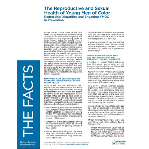 The Reproductive and Sexual Health of Young Men of Color: Redressing Disparities and Engaging YMOC in Prevention