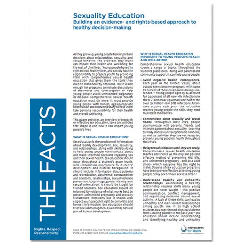 Sexuality Education: Building An Evidence And Rights-Based Approach To  Health Decision-Making