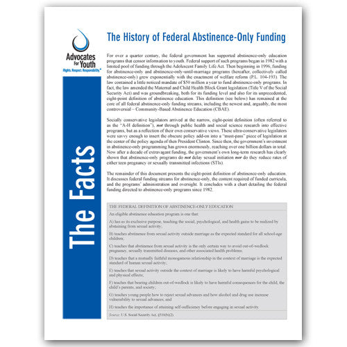The History of Federal Abstinence-Only Funding