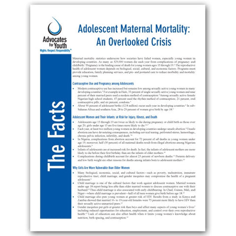 Adolescent Maternal Mortality: An Overlooked Crisis