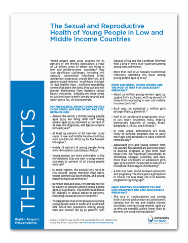The Sexual and Reproductive Health of Young People in Low and Middle Income Countries