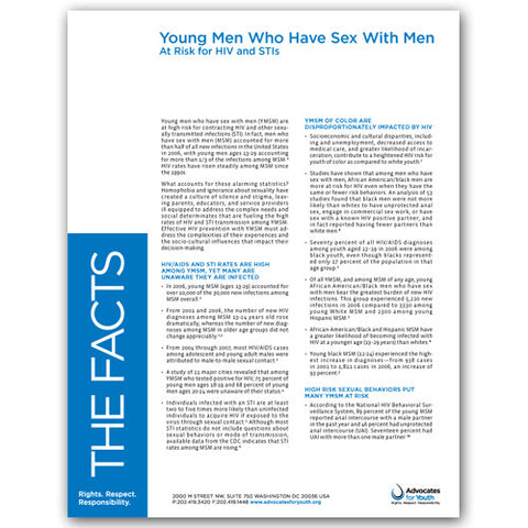 Young Men Who Have Sex With Men: At Risk for HIV and STIs