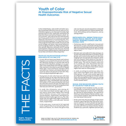 Youth of Color - At Disproportionate Risk of Negative Sexual Health Outcomes