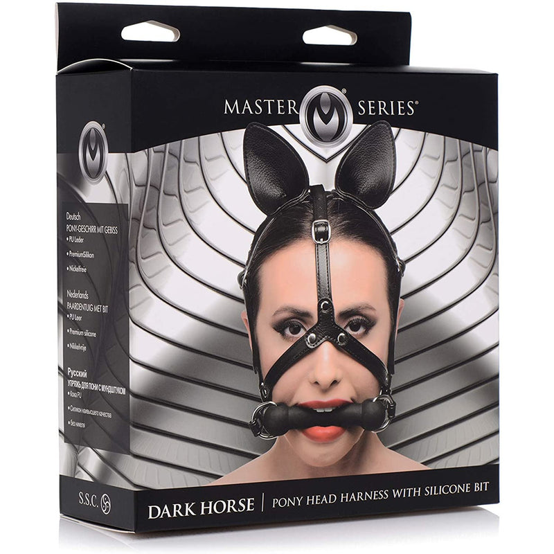 Master Series - Dark Horse Play Head Harness w/ Silicone Bit - Circus of Books