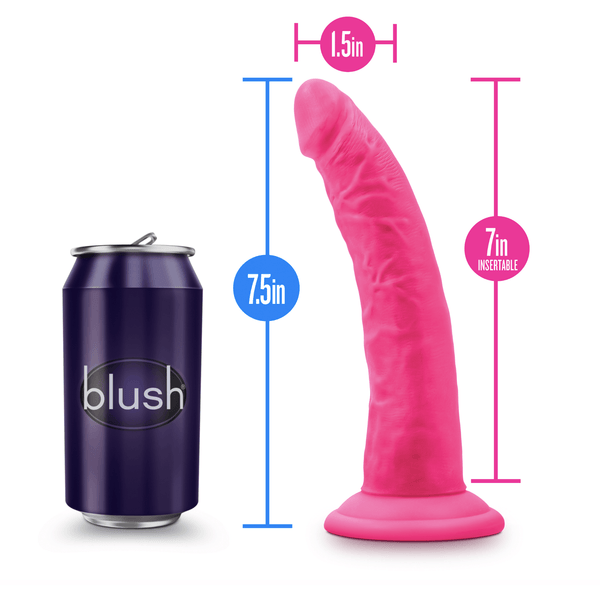 "Blush Neo Elite - Silicone Dual Density Cock 7.5"" - Neon Pink - Circus of Books"