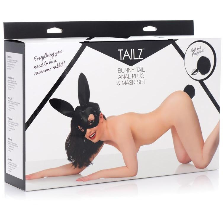 Tailz - Bunny Tail Anal Plug & Mask Set - Black - Circus of Books