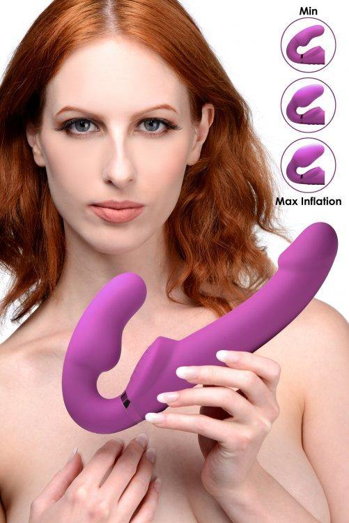 Strap U - Inflatable Vibrating Strapon Dildo w/ Remote - Pink