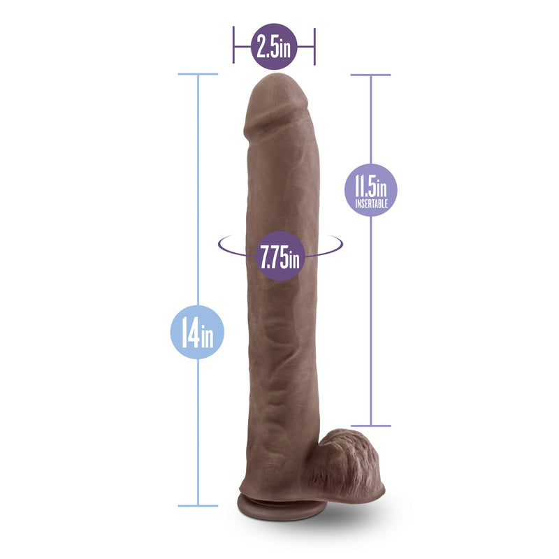 Blush - Au Naturel - Daddy - 14 Inch Sensa Feel Dual Density Dildo - Chocolate - Circus of Books