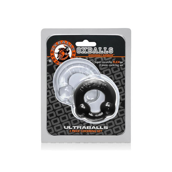 OX ULTRABALLS Cockring 2pk - Black & Clear - Circus of Books