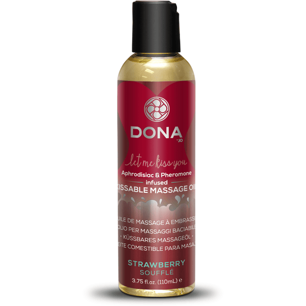 Dona - Strawberry Souffle - Aphrodisiac & Pheromone Infused Kissable Massage Oil 3.75oz - Circus of Books