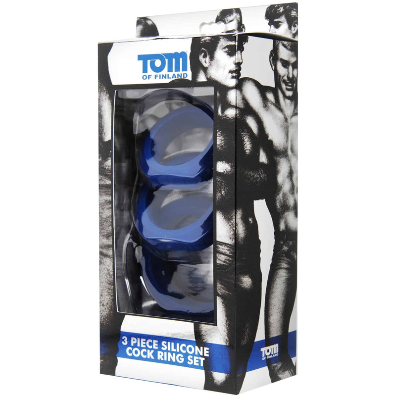 Tom of Finland - 3 Piece Silicone Cock Ring Set - Blue - Circus of Books