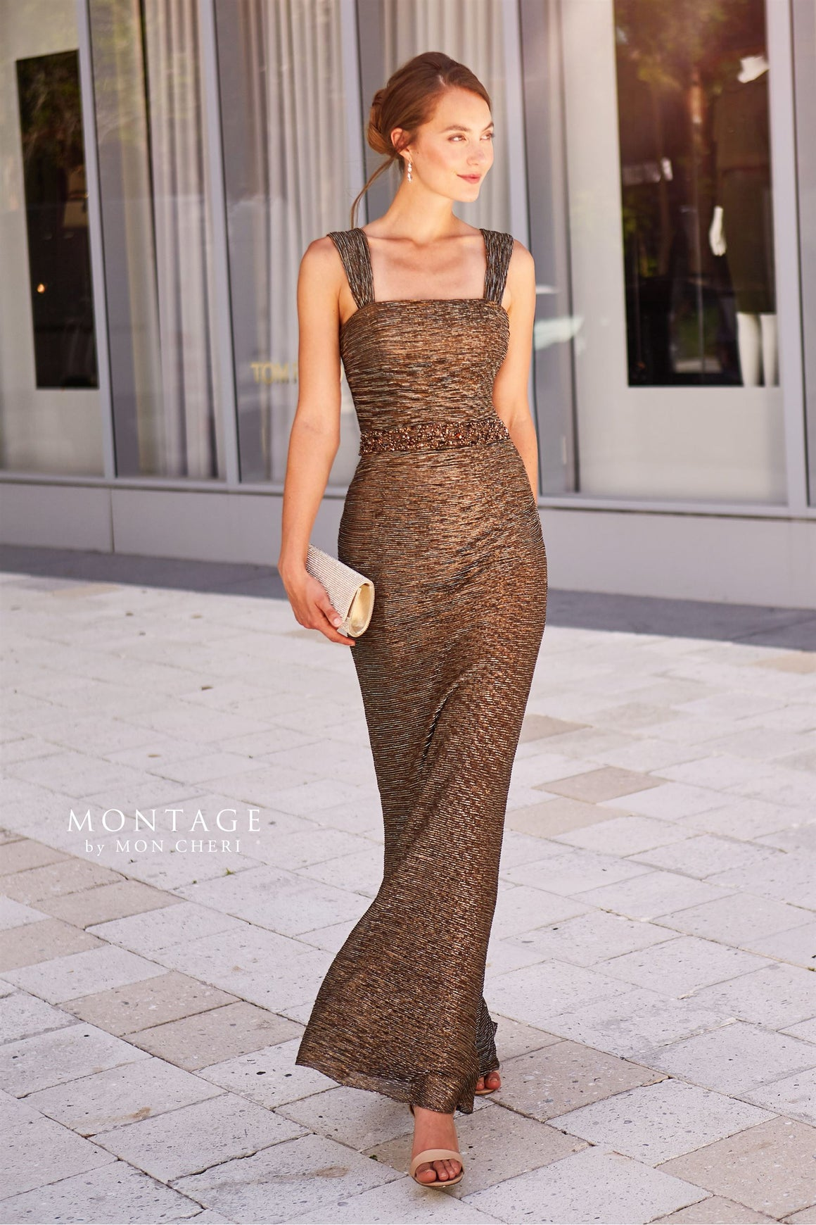 120902 Montage Stretch Metallic Fit & Flare With Beaded Waist