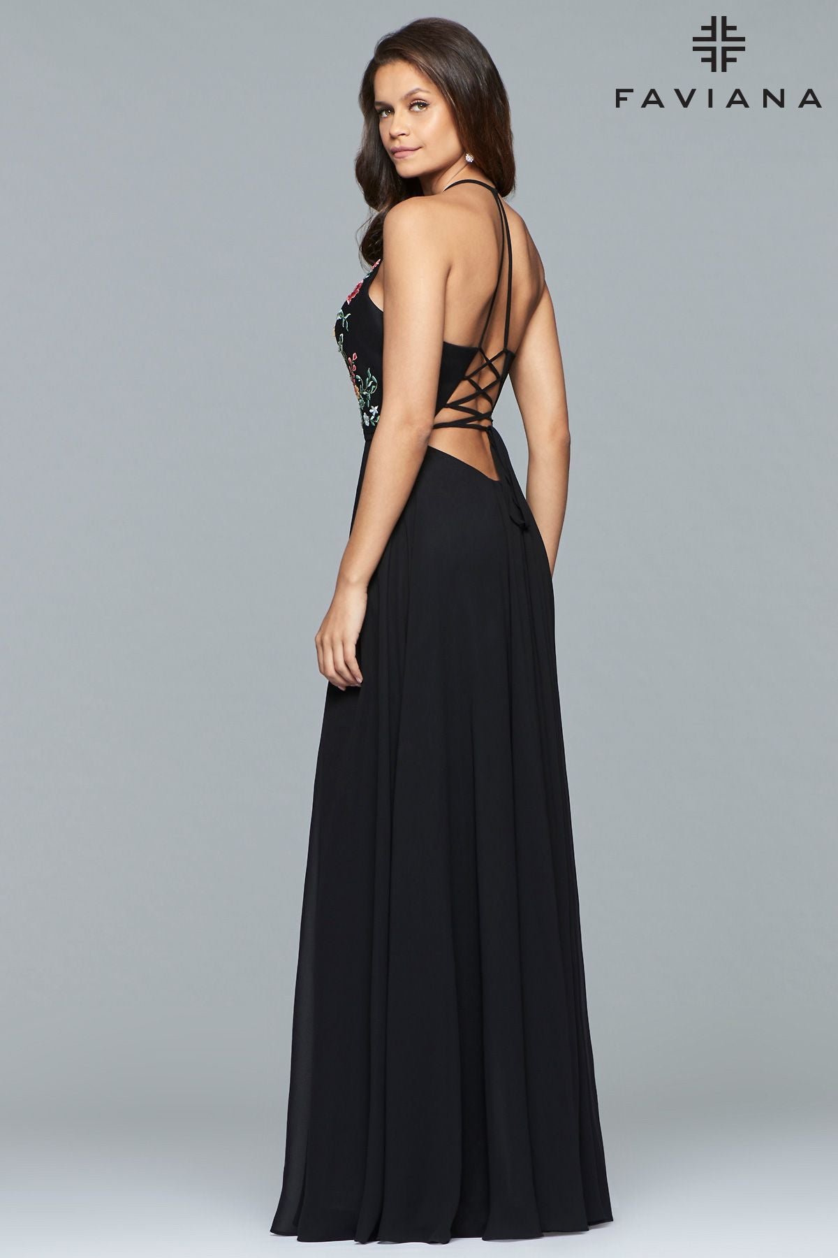 e6ac29717b11 ... Faviana 10000 Chiffon V-Neck Gown with Embroidered Bodice and Full  Skirt ...