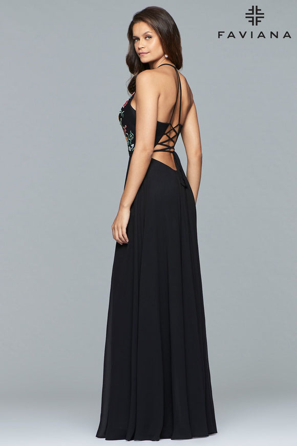 Faviana 10000 Chiffon V-Neck Gown with Embroidered Bodice and Full Skirt