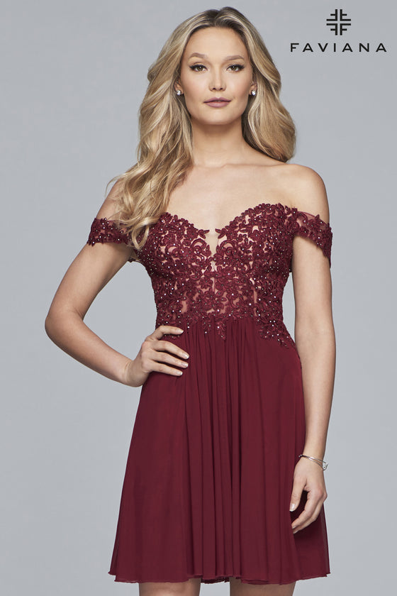 Faviana S10155 Off The Shoulder Lace Applique Sweetheart Dress With Gathered Skirt
