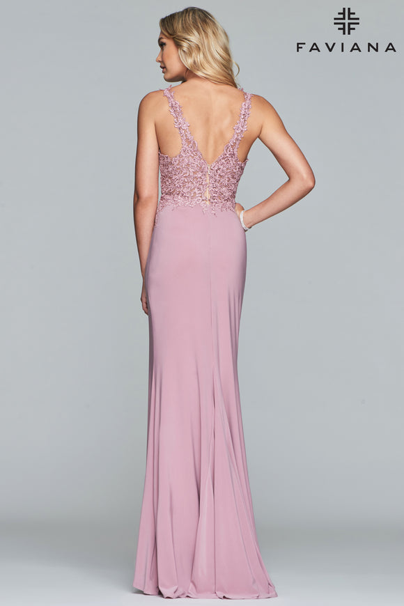 Faviana V-Neck Jersey Gown With Applique Bodice And Side Slit Detail