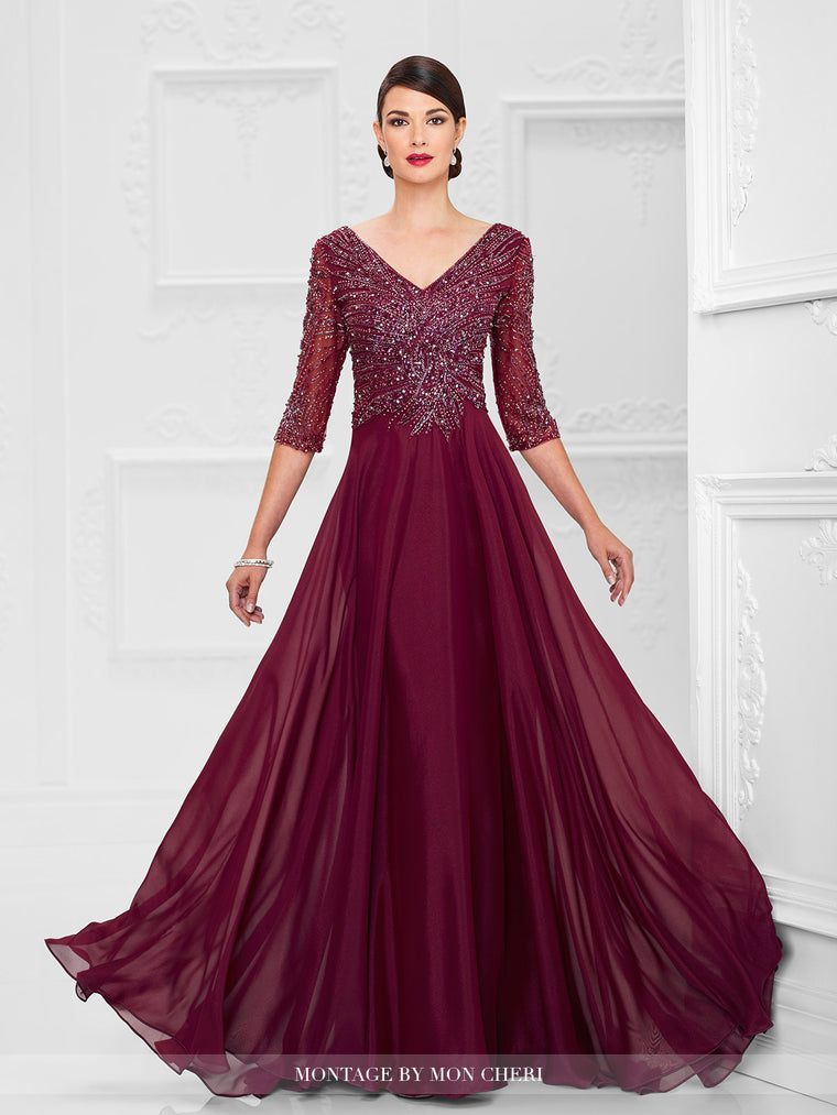 Montage 116950 Beaded Chiffon A-Line Gown with Fully beaded 3/4 sleeve and V-Neckline