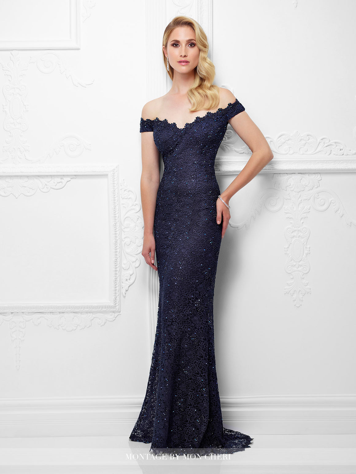 Montage 117920 Off The Shoulder Fit And Flare Beaded Lace Gown