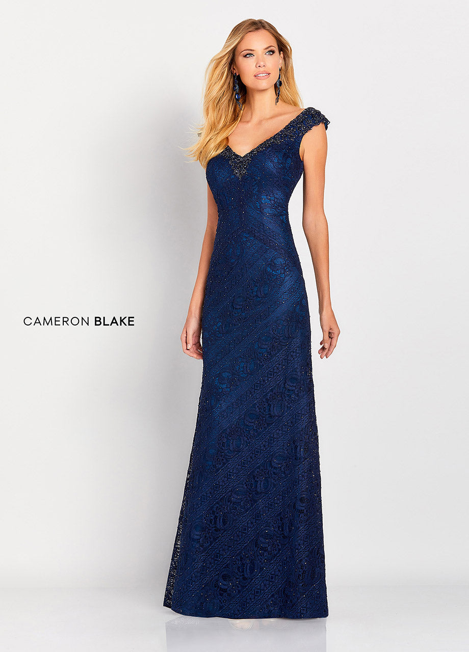 119661 Cameron Blake Slim A-Line Lace Gown with Beaded V-neckline and Small Cap Sleeve