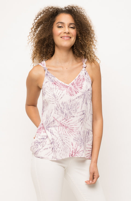 Patterned Knot Sleeve Tank In Lavender