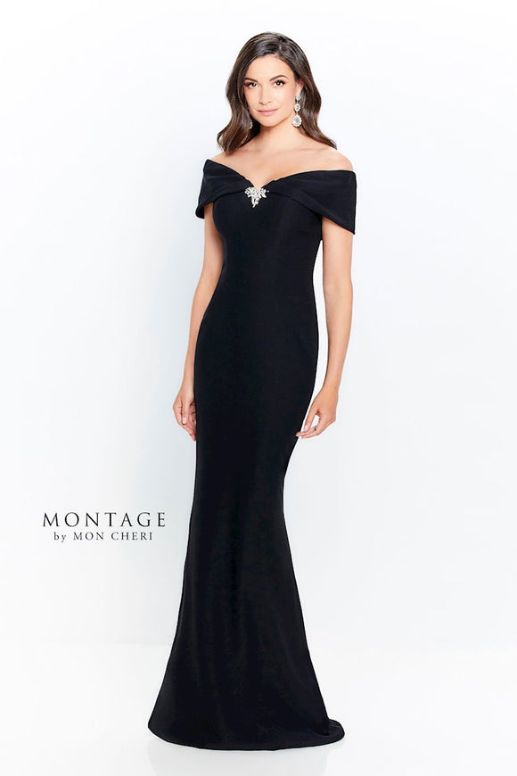 Montage 120905 Off-The-Shoulder Crepe Fit and Flare Gown | Navy, Black, Red, Ivory