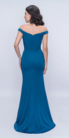 Nina Canacci 1416 Off the Shoulder Satin Fit and Flare Gown with Bodice Piping Detail