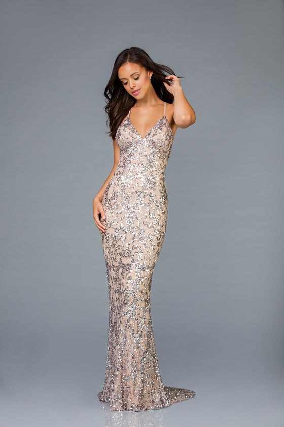 Allover Beaded Pattern  Gown with Open Back in Mink/Silver
