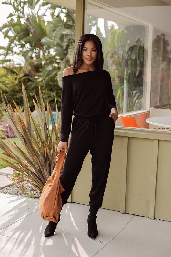 Long Sleeve French Terry Jumpsuit | Black