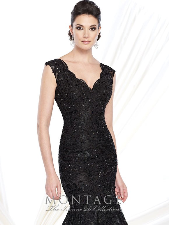 Ivonne D 215D08 V-Neck Sequin Lace Trumpet Gown