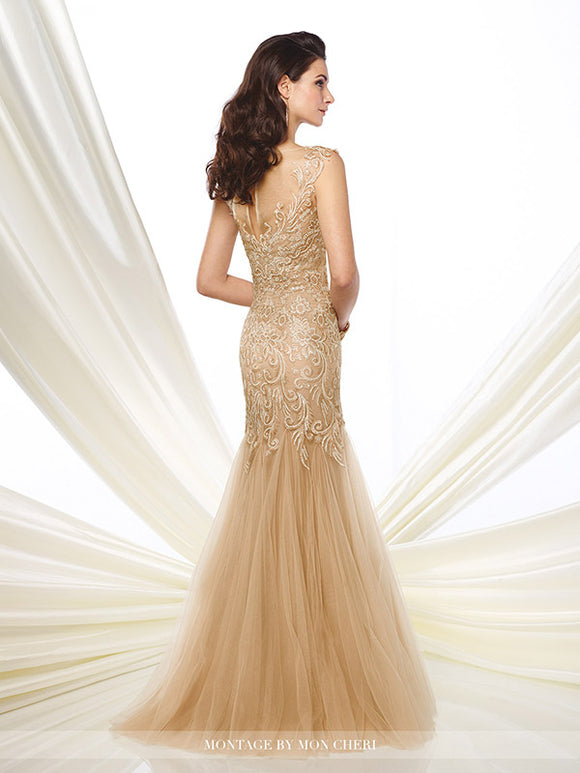 Montage 216964 Metallic Lace And Tulle Trumpet Gown
