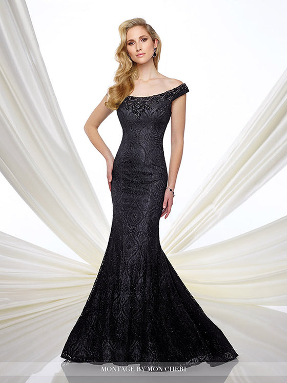 Montage 216975 Off The Shoulder Mermaid Gown With Beaded Neckline