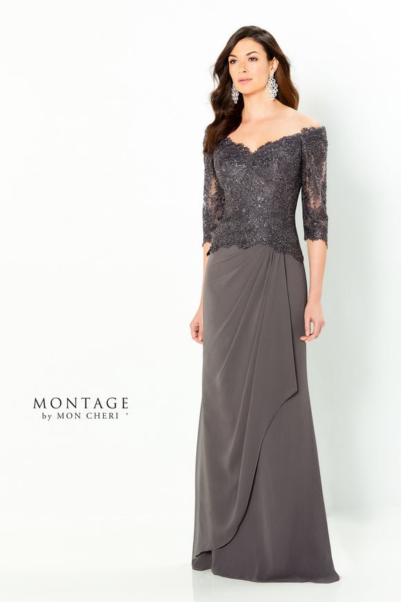 Montage 220942 Off The Shoulder Lace Chiffon Gown With 3/4 Sleeve | Wine, Charcoal, English Rose
