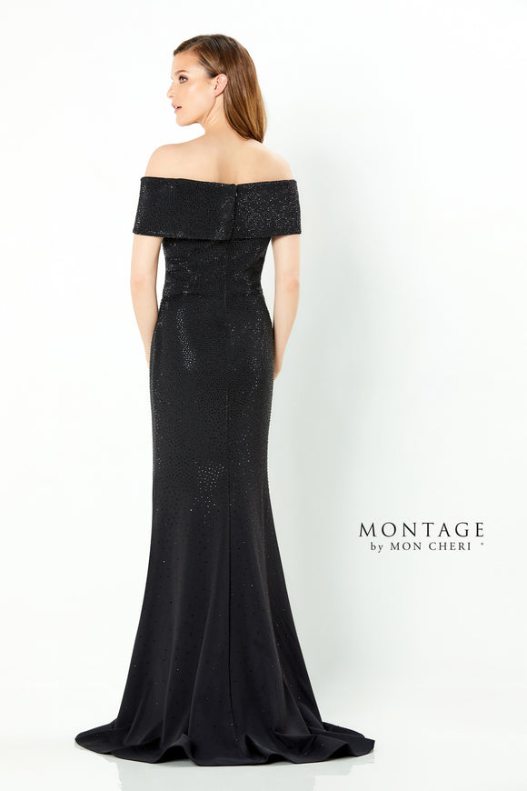 220932 Montage Off The Shoulder Fit & Flare With Matching Stones | Black, Navy, Wine