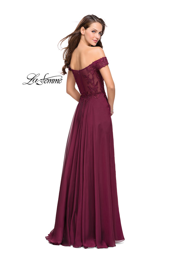 La Femme 25129 Off The Shoulder Lace with Chiffon Gown
