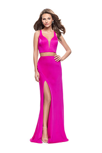 La Femme 25599 Two Piece Satin Criss- Cross Back with Slit Front Skirt in Hot Pink