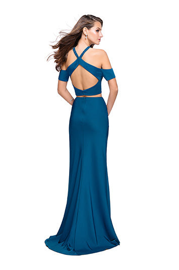 La Femme 25846 Two Piece Cold Shoulder Gown in Teal